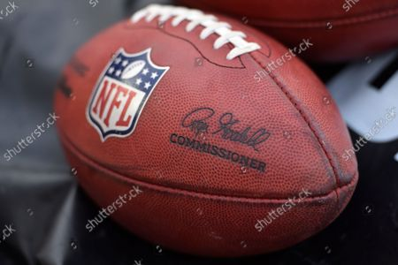 Stock Photo of General view of a football featuring the signature of commissioner Roger Goodell before an NFL football game between the Arizona Cardinals and the Cleveland Browns, in Cleveland. The Cardinals won 37-14
