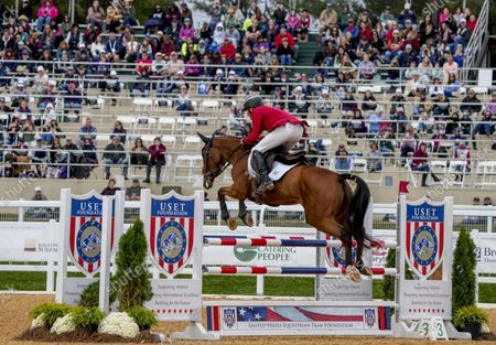 , 2021, Fair Hill, MD, USA: Boyd Martin (USA), aboard On Cue, clears a jump during the Stadium Jumping Final at the 5* level during the Inaugural Maryland Five-Star at the Fair Hill Special Event Zone in Fair Hill, Maryland on , 2021. Martin won. Scott Serio/Eclipse Sportswire/CSM