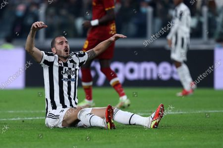 Leonardo Bonucci of Juventus Fc lies on the ground during the Serie A match between Juventus Fc and As Roma at Allianz Stadium on October 17, 2021 in Turin, Italy.
