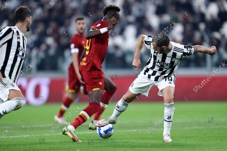Tammy Abraham of As Roma and Leonardo Bonucci of Juventus Fc battle for the ball during the Serie A match between Juventus Fc and As Roma at Allianz Stadium on October 17, 2021 in Turin, Italy.