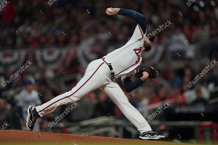 Atlanta Braves pitcher Ian Anderson pitches during the first inning in Game 2 of baseball's National League Championship Series, in Atlanta