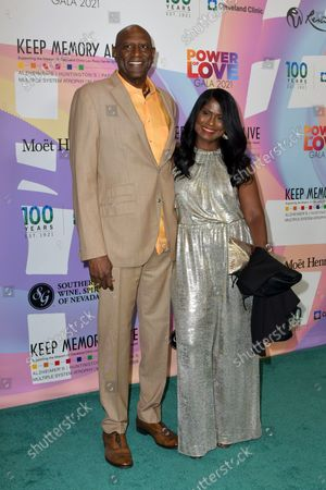 """Spencer Haywood and Linda Haywood at Keep Memory Alive's 25th Annual Power Of Love Gala honoring Smokey Robinson and Kenny """" Kenneth Babyface Edmonds """" Edmonds at Resorts World Las Vegas in Las Vegas, Nevada on October 16, 2021."""
