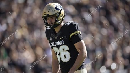 Colorado place kicker Cole Becker (36) in the first half of an NCAA college football game, in Boulder, Colo