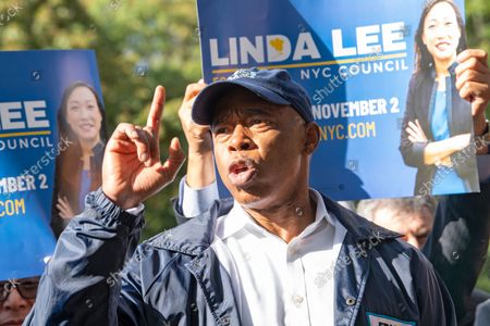 New York City mayoral Democratic nominee and Brooklyn Borough President Eric Adams speaks at Linda Lee's, New York City council district 23 candidate, general election kickoff rally in Queens Borough of New York City.