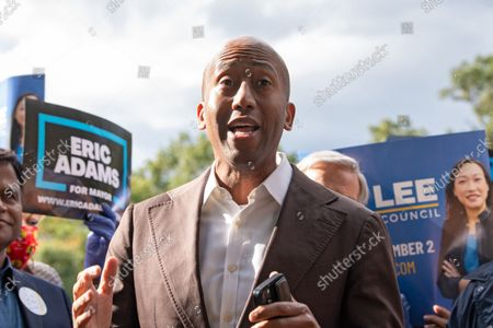 Stock Photo of Clyde Vanel is the Assembly member for the 33rd District speaks at Linda Lee's, New York City council district 23 candidate, general election kickoff rally in Queens Borough of New York City.