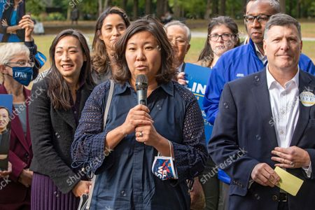 Congresswoman Grace Meng speaks at Linda Lee's, New York City council district 23 candidate, general election kickoff rally in Queens Borough of New York City.