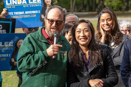 New York City Council member Barry Grodenchik speaks at Linda Lee's, New York City council district 23 candidate, general election kickoff rally  in Queens Borough of New York City.