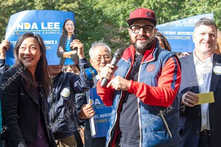 New York City Council Member Francisco Moya speaks at Linda Lee's, New York City council district 23 candidate, general election kickoff rally in Queens Borough of New York City.