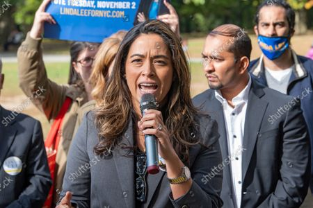 Carolina Rivera speaks at Linda Lee's, New York City council district 23 candidate, general election kickoff rally in Queens Borough of New York City.