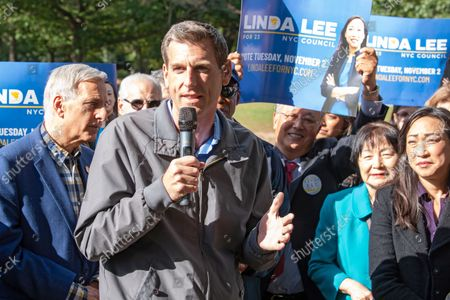 Assembly Member Edward Braunstein speaks at Linda Lee's, New York City council district 23 candidate, general election kickoff rally in Queens Borough of New York City.