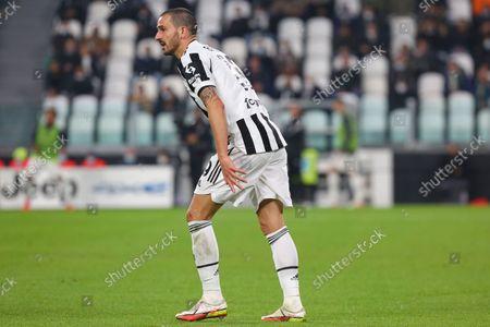 Leonardo Bonucci of Juventus FC during the match between Juventus FC and AS Roma on October 17, 2021 at Allianz Stadium in Turin, Italy. Juventus won 1-0 over Roma.