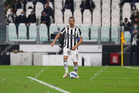 Stock Image of Leonardo Bonucci of Juventus FC during the match between Juventus FC and AS Roma on October 17, 2021 at Allianz Stadium in Turin, Italy. Juventus won 1-0 over Roma.