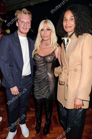 Stock Image of Andrew Durbin, Donatella Versace and Eva Langret