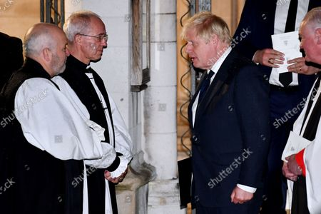 Boris Johnson and Archbishop of Canterbury Justin Welby after a Service of Remembrance for Sir David Amess at St Margaret's Church, Westminster