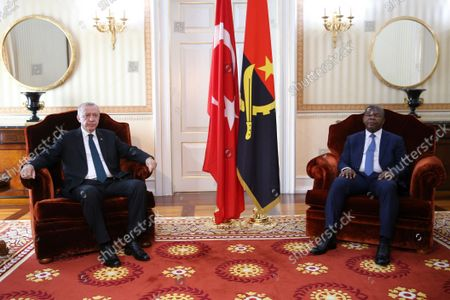 Angolan President Joao Lourenco (R) and Turkish counterpart Recep Tayyip Erdogan (L) during their meeting at the Presidential Palace in Luanda, Angola, 18 October 2021. Erdogan is currently on a state visit to Angola.