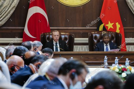 Angola President Joao Lourenco (R) and turkish counterpart Recep Tayyip Erdogan (L) during the delegations meeting at Presidential Palace in Luanda, Angola, 18 October 2021.