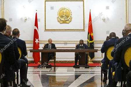 Angola President Joao Lourenco (C/R) and turkish counterpart Recep Tayyip Erdogan (C/L) during the joint press conference after their meeting at Presidential Palace in Luanda, Angola, 18 October 2021.