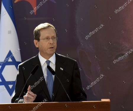 Israeli President Isaac Herzog speaks at the state memorial ceremony for the late Prime Minister Yitzhak Rabin at the Mt. Herzl Cemetery in Jerusalem, . Israel is marking 26 years since Rabin was assassinated by Yigal Amir, an extremist Jewish Israeli