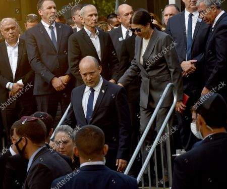 Israeli Prime Minister Naftali Bennett attends the state memorial ceremony for the late Prime Minister Yitzhak Rabin at the Mt. Herzl Cemetery in Jerusalem, 18 October 2021. Israel is marking 26 years since PM Rabin was assassinated by Yigal Amir, an extremist Jewish Israeli.