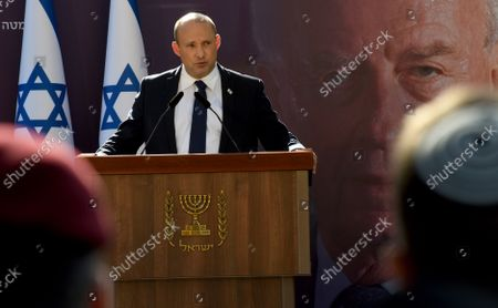 Israeli Prime Minister Naftali Bennett speaks at the state memorial ceremony for the late Prime Minister Yitzhak Rabin at the Mt. Herzl Cemetery in Jerusalem, 18 October 2021. Israel is marking 26 years since PM Rabin was assassinated by Yigal Amir, an extremist Jewish Israeli.