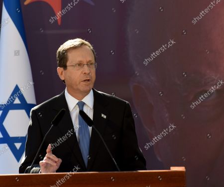 Israeli President Isaac Herzog speaks at the state memorial ceremony for the late Prime Minister Yitzhak Rabin at the Mt. Herzl Cemetery in Jerusalem, 18 October 2021. Israel is marking 26 years since PM Rabin was assassinated by Yigal Amir, an extremist Jewish Israeli.