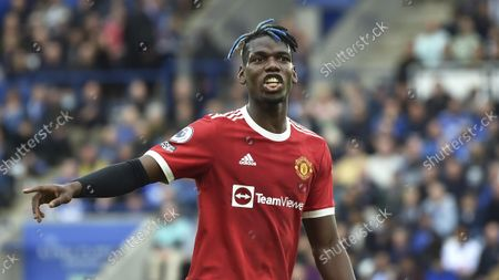 Manchester United's Paul Pogba during the English Premier League soccer match between Leicester City and Manchester United at King Power stadium in Leicester, England