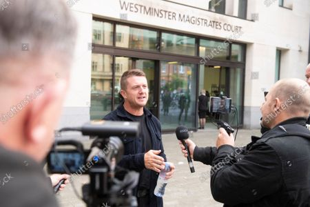 Tommy Robinson arrives at Westminster Magistrates Court.