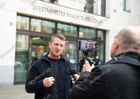 Editorial image of Tommy Robinson at The Royal Courts of Justice, London, UK - 13 Oct 2021