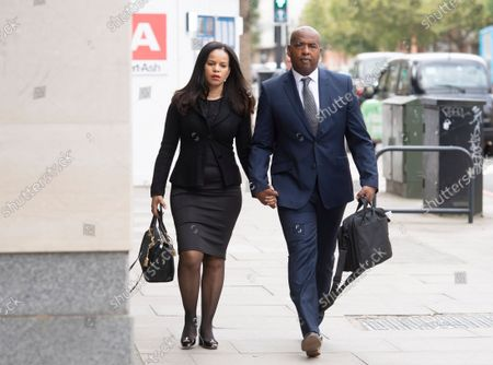 Stock Image of MP Claudia Webbe arrives at Westminster Magistrates Court, with her partner Lester Thomas, where her harassment trial continues.