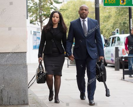 MP Claudia Webbe arrives at Westminster Magistrates Court, with her partner Lester Thomas, where her harassment trial continues.