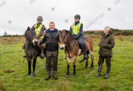 """Stock Image of Adam Henson joins The annual round up of the Anchor Herd of Exmoor Ponies was held today on Exmoor The herd are gathered in off the moor for their annual health checks. The Exmoor has been given """"endangered"""" status by the Rare Breeds Survival Trust, and """"threatened"""" status by The Livestock Conservancy. It is one of the British Isles' mountain and moorland pony breeds, having conformation similar to that of other cold-weather-adapted pony breeds. The Exmoor pony is hardy and used for a variety of equestrian activities. In its free-roaming state, the breed's presence on Exmoor contributes to the conservation and management of several natural pasture habitats."""