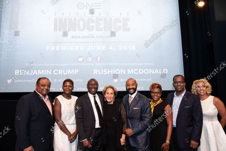 """(L-R): Roland Martin, Host and Senior Analyst for """"The Tom Joyner Morning Show"""", Chanta Parker, Special Counsel for New Initiatives, Innocence Project, Benjamin Crump, ESQ., """"Evidence of Innocence"""" host and civil rights attorney, Linda Lipsen, CEO of the American Assoc. for Justice, Rushion McDonald, two-time Emmy Award-winning Exec. Producer of """"Evidence of Innocence"""", Tia Smith, Exec. in Charge of Production and Sr. Dir. of Programming and Production, TV One, Mike Fletcher, Senior Contributor, ESPN: The Undefeated, and Tracee Morgan, Producer of Evidence of Innocence, attend the screening of TV One's """"Evidence of Innocence"""", their new limited crime and justice series at the NCTA Theater in Washington, D.C. on Thursday, May 31, 2018. """"Evidence of Innocence"""" premieres on TV One on Monday, June 4 at 10p.m."""