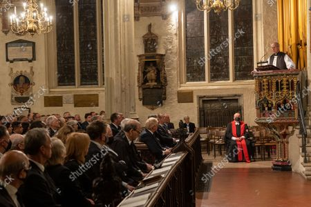 Stock Image of A Service of Prayer and Remembrance for Sir David Amess MP was held at St. Margaret's Church, Westminster Abbey, London..The service was conducted by The Reverend Anthony Ball, Rector of St. Margaret's Church.THE MOST REVEREND AND RT HONOURABLE Justin Welby, ARCHBISHOP OF CANTERBURY AND PRIMATE OF ALL ENGLAND GIVES THE ADDRESS.