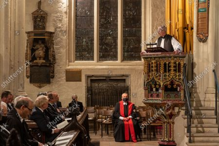 Stock Photo of A Service of Prayer and Remembrance for Sir David Amess MP was held at St. Margaret's Church, Westminster Abbey, London..The service was conducted by The Reverend Anthony Ball, Rector of St. Margaret's Church.THE MOST REVEREND AND RT HONOURABLE Justin Welby, ARCHBISHOP OF CANTERBURY AND PRIMATE OF ALL ENGLAND GIVES THE ADDRESS.