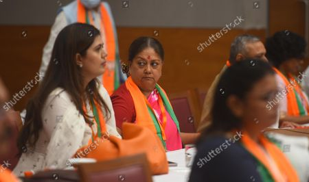 Pankaja Munde, National Secretary of Bharatiya Janata Party and Vasundhara Raje, former Chief Minister of Rajasthan during the office-bearers meet ahead of assembly polls at BJP HQ   on October 18, 2021 in New Delhi, India.