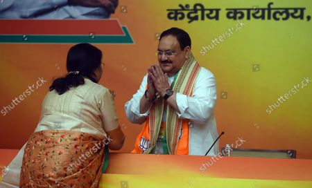 BJP National president J P Nadda along with BJP party leaders during the office-bearers' meet ahead of assembly polls at BJP HQ   on October 18, 2021 in New Delhi, India.