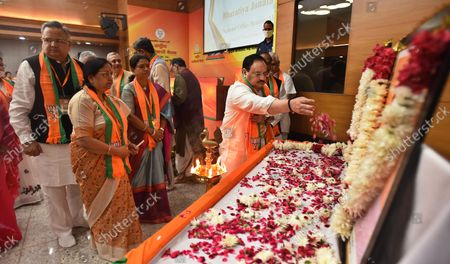 BJP National president J P Nadda along with party leaders paying his respects to Deendayal Upadhyaya and Syama Prasad Mukherjee during the office-bearers meet ahead of assembly polls at BJP HQ   on October 18, 2021 in New Delhi, India.