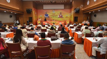BJP party leaders during the office-bearers' meet ahead of assembly polls at BJP HQ   on October 18, 2021 in New Delhi, India.