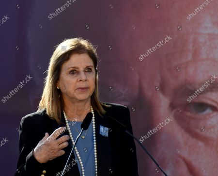 Dalia Rabin speaks at the state memorial ceremony for her late father Prime Minister Yitzhak Rabin at the Mt. Herzl Cemetery in Jerusalem, on Monday, October 18, 2021. Israel is marking 26 years since PM Rabin was assassinated by Yigal Amir, an extremist Jewish Israeli.