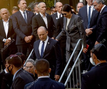 Israeli Prime Minister Naftali Bennett attends the state memorial ceremony for the late Prime Minister Yitzhak Rabin at the Mt. Herzl Cemetery in Jerusalem, on Monday, October 18, 2021. Israel is marking 26 years since PM Rabin was assassinated by Yigal Amir, an extremist Jewish Israeli.