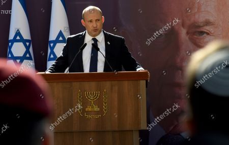 Stock Image of Israeli Prime Minister Naftali Bennett speaks at the state memorial ceremony for the late Prime Minister Yitzhak Rabin at the Mt. Herzl Cemetery in Jerusalem, on Monday, October 18, 2021. Israel is marking 26 years since PM Rabin was assassinated by Yigal Amir, an extremist Jewish Israeli.