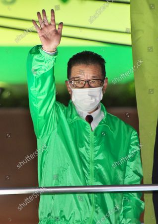 Stock Image of Osaka Mayor and Japan Restoration Party leader, Ichiro Matsui delivers a campaign speech for his party's candidate as he runs for the upcoming general election in Tokyo, Japan.