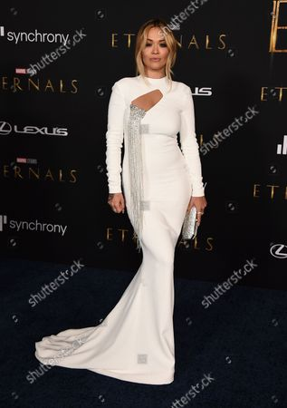 """Rita Ora arrives at the premiere of """"Eternals"""" on Monday, Oct. 18. 2021, in Los Angeles"""