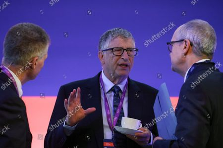 Stock Picture of Bill Gates (C), co-chairman of the Bill and Melinda Gates Foundation, talks with John Bell, professor of medicine at Oxford University (L) and Patrick Vallance, U.K. chief scientific adviser, during the Global Investment Summit (GIS) 2021 at the Science Museum in London, Britain, 19 October 2021. Johnson is hosting the summit, where as many as 200 CEOs and investors are expected to gather.