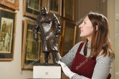 Editorial image of A rare maquette of Sir Winston Churchill's famous statue in Parliament Square has sold at auction for £75,000, UK - 07 Oct 2021
