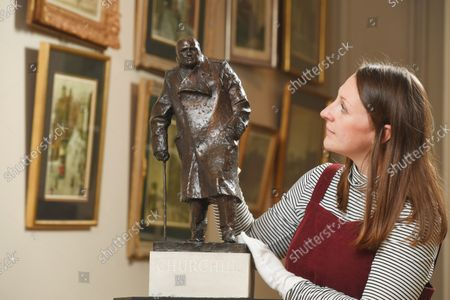 Editorial photo of A rare maquette of Sir Winston Churchill's famous statue in Parliament Square has sold at auction for £75,000, UK - 07 Oct 2021