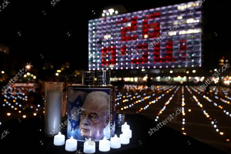 (211019) - TEL AVIV, Oct. 19, 2021 (Xinhua) - Photo taken on Oct. 18, 2021 shows a scene from a memorial event commemorating the 26th anniversary of the assassination of former Israeli Prime Minister Yitzhak Rabin in central Israeli city of Tel Aviv. Israel marked the 26th anniversary of the assassination of former Prime Minister Yitzhak Rabin, who was shot dead by a far-right Jewish man as he strived for peace with the Palestinians.