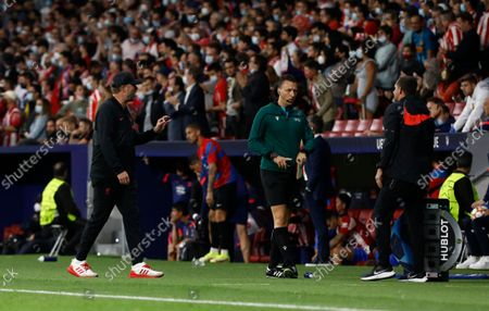 Stock Picture of Liverpool Manager Jurgen Klopp reacts at full time after Diego Simeone stormed off without shaking his hand
