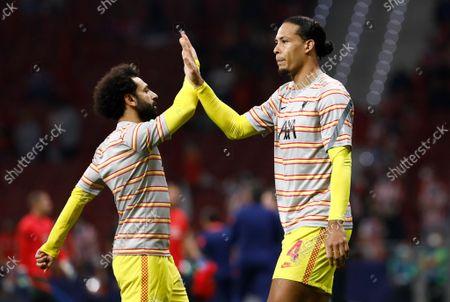 Stock Photo of Mohamed Salah and Virgil van Dijk of Liverpool warm up