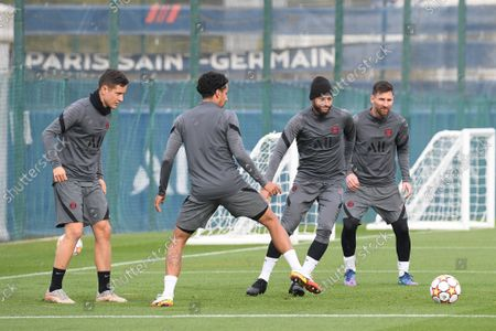 Paris Saint-Germain's Ander Herrera, Marquinhos, Neymar Jr and Lionel Messi during a training session at the club's Camp des Loges training center in Saint-Germain-en-Laye, on the eve of their UEFA Champions Leage first round group A football match against RB Leipzig